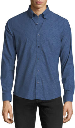 Neiman Marcus Slim-Fit Wear-It-Out Dobby Floral Dress Shirt