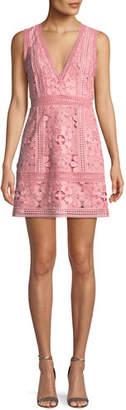 Alice + Olivia Zula Sleeveless V-Neck Lace Mini Party Dress