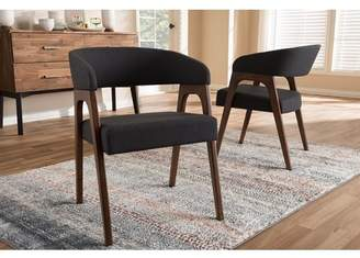 Baxton Studio Set of 2 Tory Mid-Century Modern Walnut Wood Dark Grey Fabric Dining Chair Set