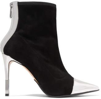 Balmain Blair Mirrored Leather-trimmed Velvet Sock Boots - Black