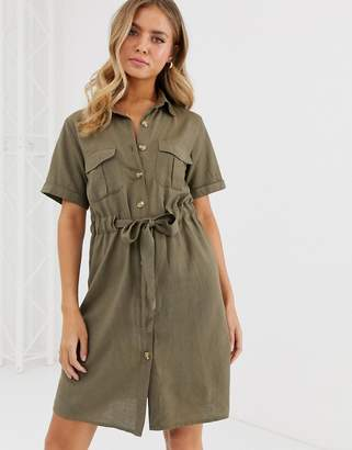Qed London QED London button through shirt dress with tie belt