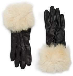 UGG Dyed Shearling Trimmed Leather Gloves