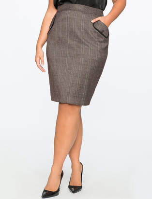 ELOQUII Plaid Pencil Skirt with Piping