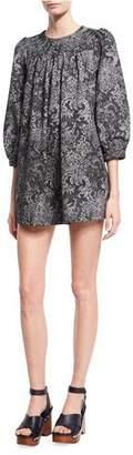 Marc Jacobs Lace-Print Babydoll Dress, Black