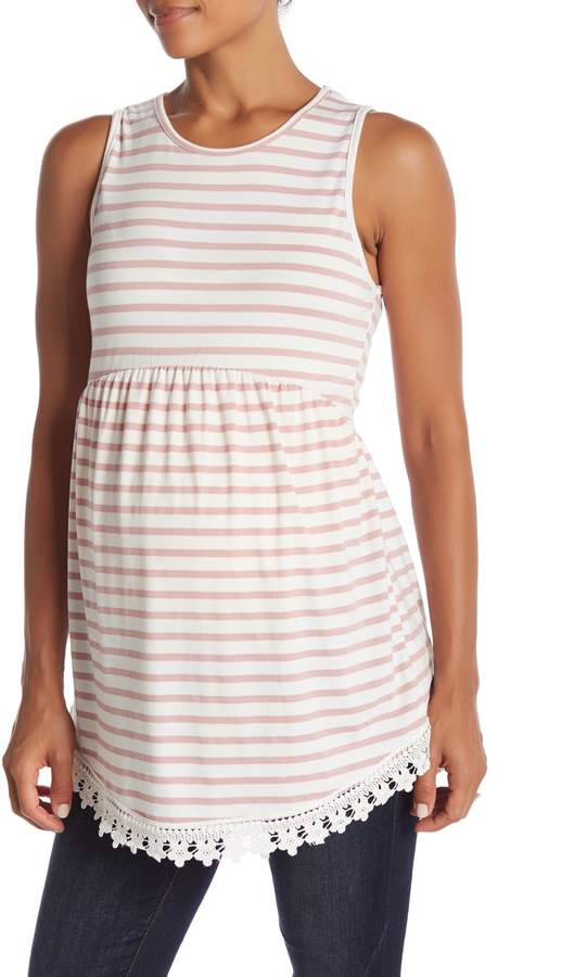 PinkBlush Maternity Striped Sleeveless Peplum Tunic (Maternity)