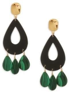 Nest 24K Goldplated Malachite Drop Earrings