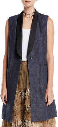 Brunello Cucinelli Long Denim One-Button Vest w/ Satin Collar