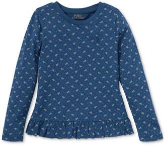 Polo Ralph Lauren Little Girls Floral-Print Long-Sleeve Ruffled Cotton T-Shirt