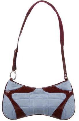 pradaPrada Leather-Trimmed Quilted Tessuto Shoulder Bag