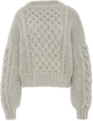I Love Mr Mittens Aran Cropped Wool Cable-Knit Sweater Size: XS/S
