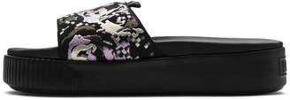 Platform Slide Digital Embroidery Women's Sandals