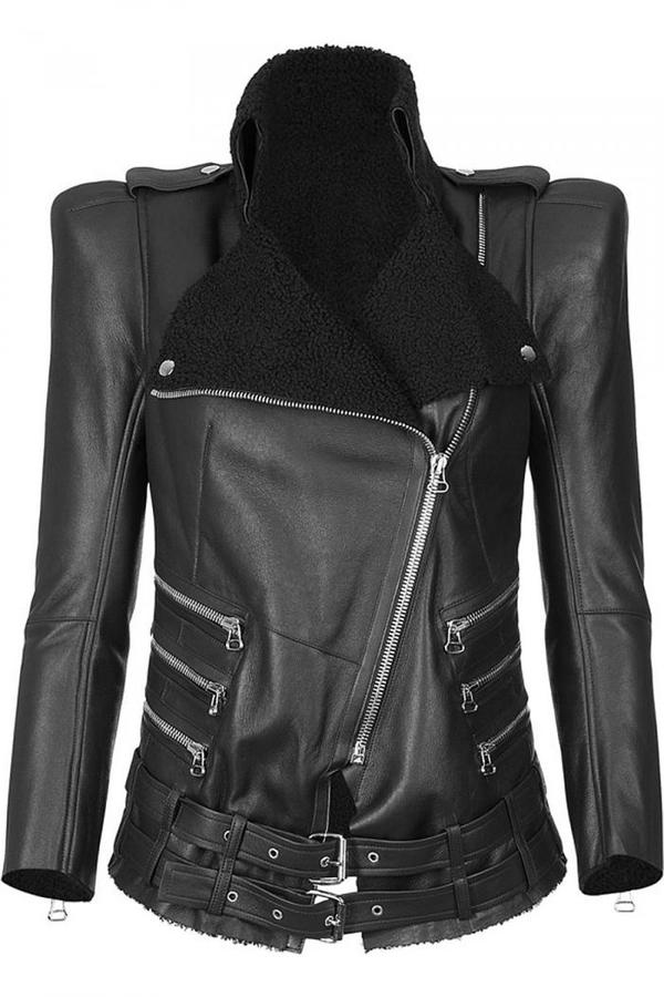 Balmain Black Biker Style Lamb Leather Jacket