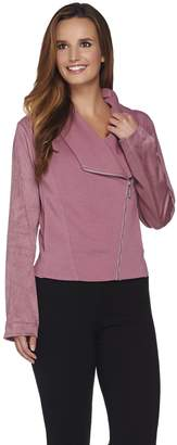Halston H By H by Faux Suede and French Terry Zip Front Jacket