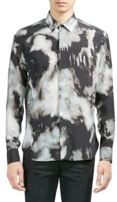 Saint Laurent Tie Dye Silk Button-Down Shirt