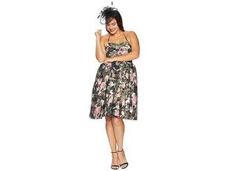 Unique Vintage Plus Size Alfred Shaheen Blossoms Print Swing Dress