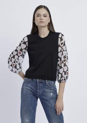 Emporio Armani Sweater With Sleeves In Matte Viscose Plated-Knit In Heart Motif