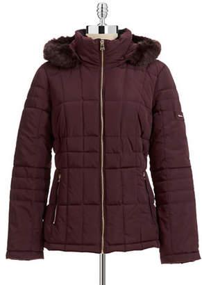 Calvin Klein Lightweight Fill Coat with Faux Fur Trim
