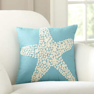 Birch Lane Sea Star Embellished Cotton Throw Pillow Cover
