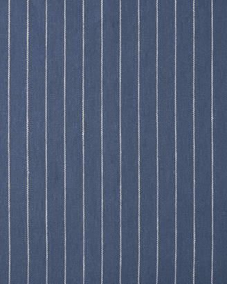Serena & Lily Pencil Stripe Linen Fabric - Steel