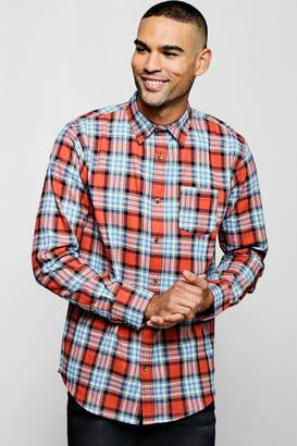 boohoo Long Sleeve Red And Blue Check Shirt