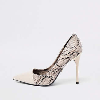 River Island Beige snake skin wrap around pumps