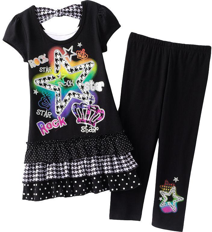 Knitworks star top and capri leggings set - girls plus