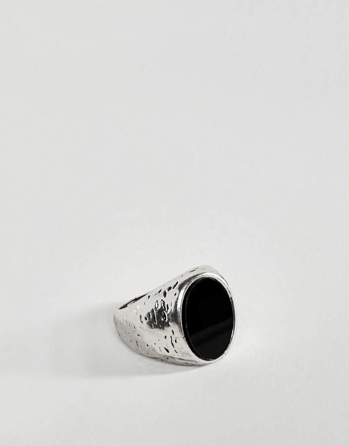 DesignB London DesignB chunky ring in silver with black stone