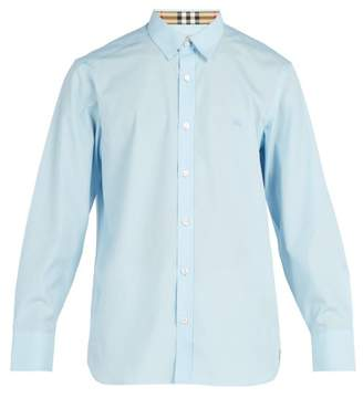 Burberry Check Cuff Cotton Blend Shirt - Mens - Light Blue