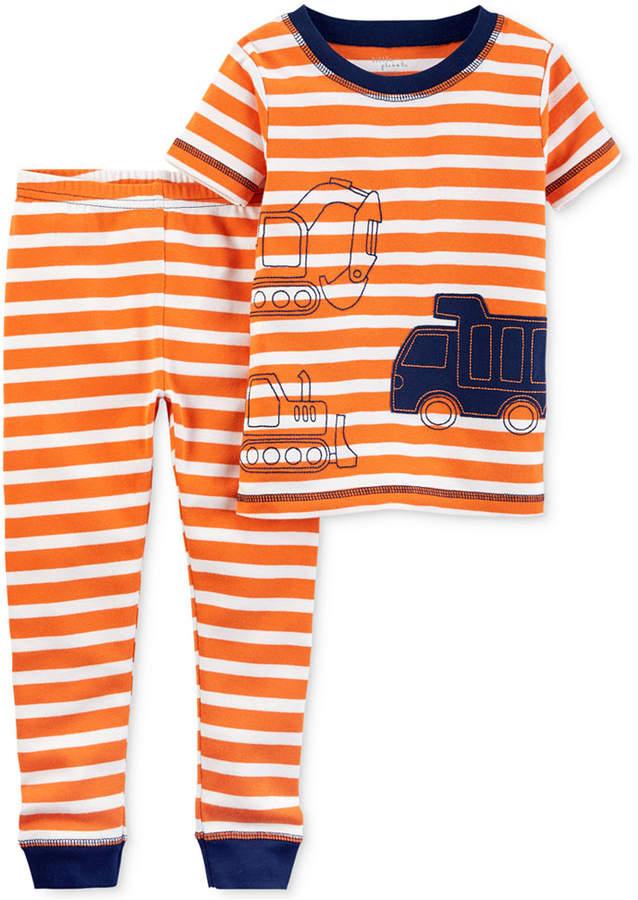 Little Planet Organics 2-Pc. Construction Trucks Cotton Pajama Set, Baby Boys