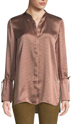 Lafayette 148 New York Desra Printed Silk Button-Down Blouse