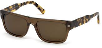 Ermenegildo Zegna Square Acetate Sunglasses, Brown