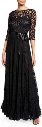 Rickie Freeman For Teri Jon 3/4-Sleeve Lace Overlay Gown