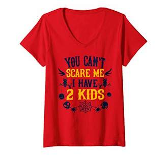 Womens You Can't Scare Me I Have Tow KIDS Dad Halloween V-Neck T-Shirt