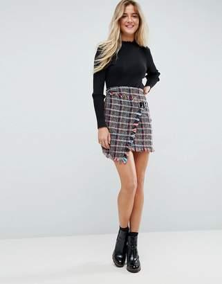 Asos Design Check Boucle Mini Skirt with Wrap Detail