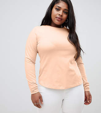 Asos DESIGN Curve ultimate top with long sleeve and crew neck in pink