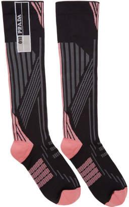 Prada Pink and Black Logo Socks