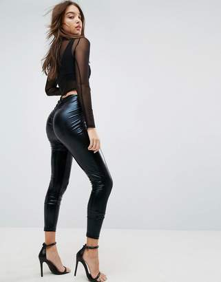 Asos Leggings in Wet Look with Back Ruched Detail