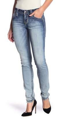 Rock Revival Topstitched & Embellished Skinny Jeans