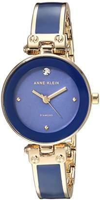 Anne Klein Women's Diamond-Accented Gold-Tone and Dark Blue Bangle Watch
