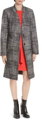 HUGO Magrete Bold Check Stretch Cotton Wool Coat
