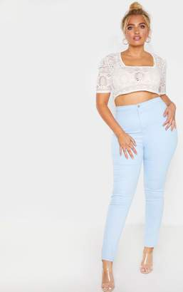 PrettyLittleThing Plus Pale Blue Stretch Jegging
