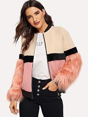 Shein Faux Fur Detail Color Block Jacket