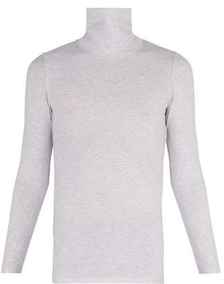 Vetements Inside Out Stretch Cotton Roll Neck Top - Mens - Grey