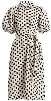 Lisa Marie Fernandez Polka Dot Linen Shirtdress - Womens - White Black