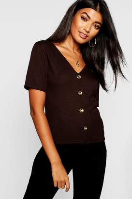 boohoo Gold Button Up V Neck Top