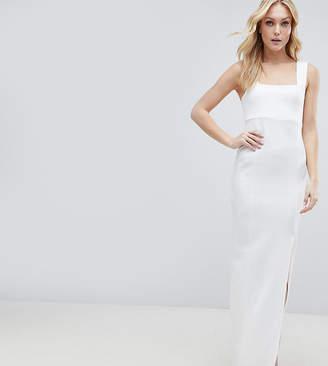 Asos Tall DESIGN Tall square neck scuba maxi dress with thigh split