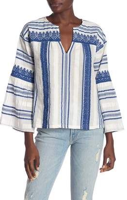 Joie Selbea 3\u002F4 Sleeve Stripe Knit Blouse