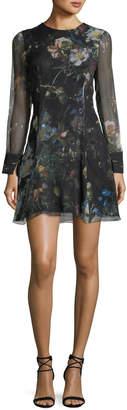 ADAM by Adam Lippes Long-Sleeve Floral Chiffon Mini Dress