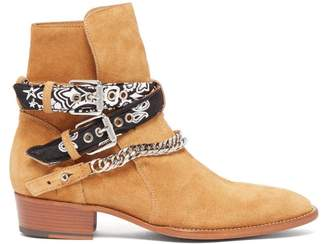 Bandana Strap Buckled Suede Boots - Mens - Brown
