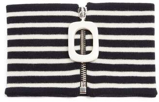 J.W.Anderson Zip-up striped wool neck band